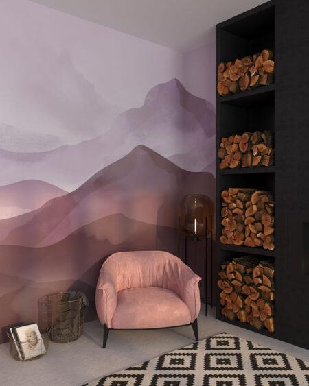 Fototapeta ręcznie rysowane góry ciemne z różowym tłem do salonu