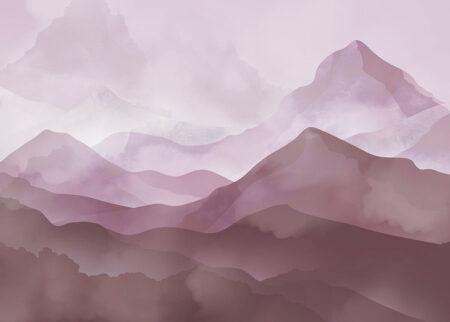 Fototapeta ręcznie rysowane góry ciemne z różowym tłem