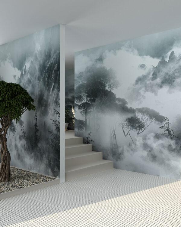 Fototapeta las w górach we mgle na szarym tle do pokoju