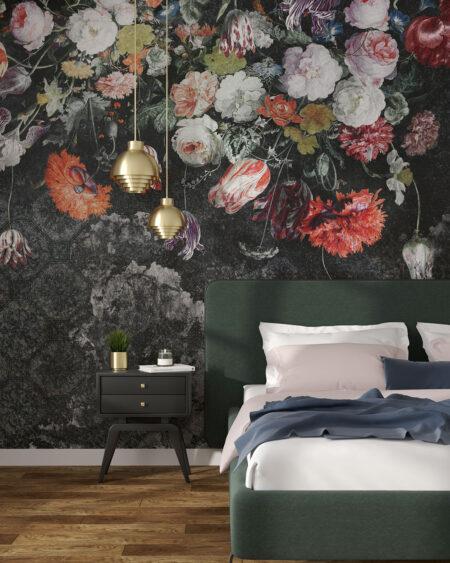 Tapeta różne kwiaty w różnych kolorach ciemnozielone odcienie do sypialni