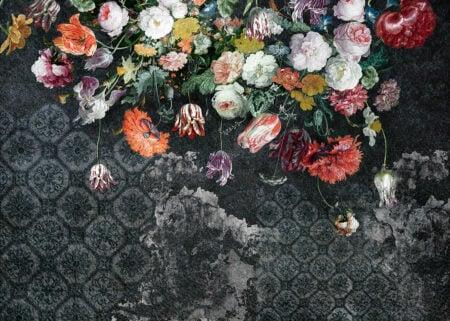 Tapeta różne kwiaty w różnych kolorach ciemnozielone odcienie