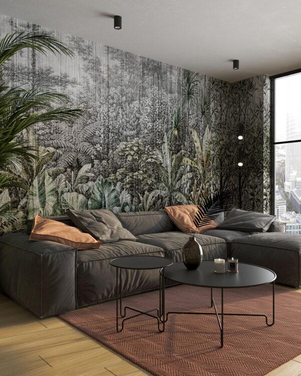 Las deszczowy z różnymi drzewami w zielone odcienie ostre tło do salonu