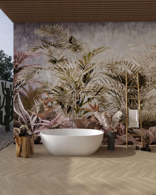 Różne tropikalne liście zielonych odcieni na szarym tle do łazienki