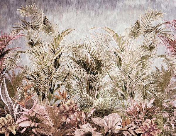 Różne tropikalne liście zielonych odcieni na szarym tle