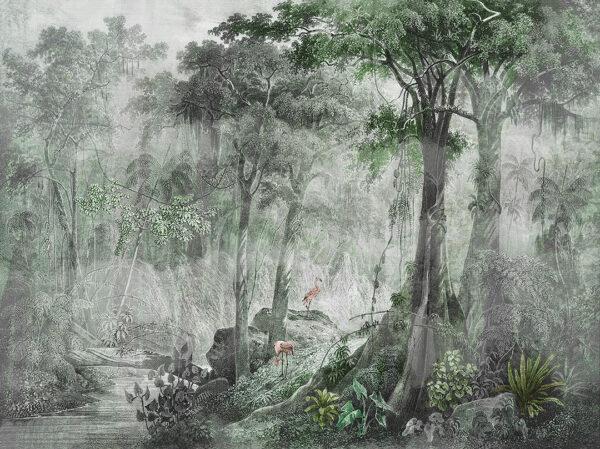 Fototapeta gęsty las z rzeką i zwierzętami Zielone odcienie
