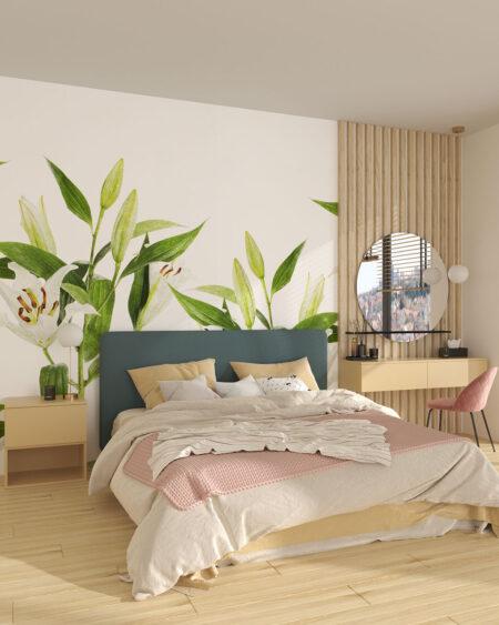 Fototapeta jasne lilie na białym tle do sypialni