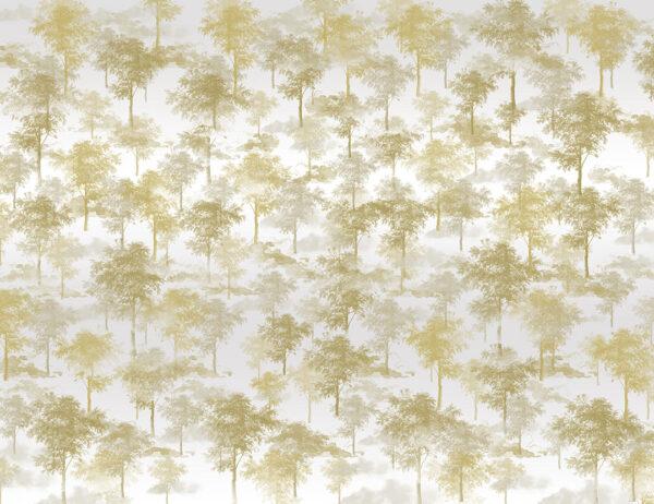 fototapeta wiele drzew bogate odcienie zieleni z białym tłem