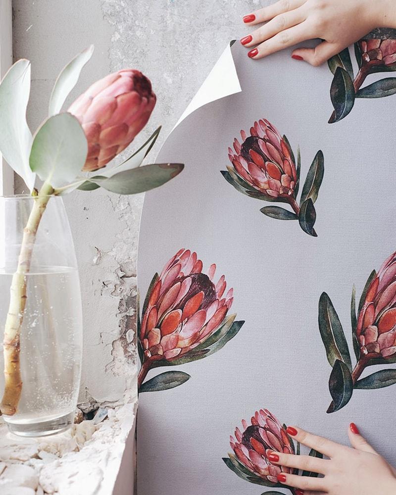 przykład klejenia fototapety z kwiatami od kith2kin